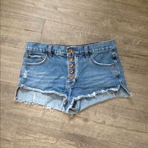 Free People Button Fly Jean Shorts